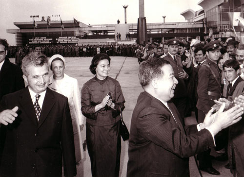 Sihanouk visiting Romania in 1972, with Romanian President Nicolae Ceaușescu (left) and Queen Norodom Monineath (center). Photo: Romanian National History Museum - www.comunismulinromania.ro