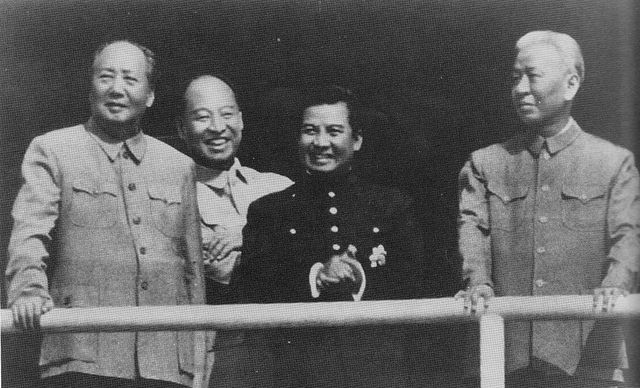 Meeting in Beijing in 1956: from left Mao Zedong, Peng Zhen, Sihanouk, Liu Shaoqi