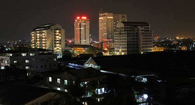 The developing Yangon pictured at night