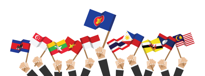 ASEAN hands and flags KRSEA