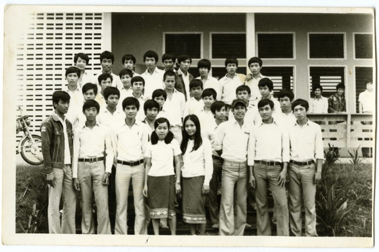 Figure 1: Voradeth Siackhasone (back row 3rd from left) at high school in 1973 (or 1974), Phon Hong.