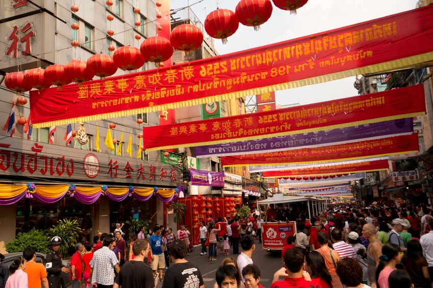 BANGKOK - Chinese New Year - Busy streets and red lanterns in Chinatown, Bangkok