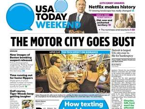 News headline reporting Detroit's bankruptcy