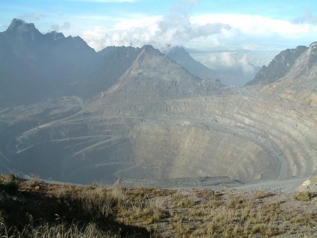 Grasberg mine open pit. the largest gold mine and the third largest copper mine in the world. It is located in the province of Papua in Indonesia