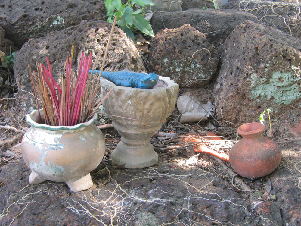 """Potent objects left on the potent tower ruins of the Merit-filled Bodhi Tree Monastery"" (Photo: Anne Guillou, 2008)"