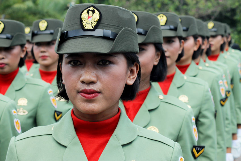 Indonesian military women's army corps marching in independence day flag ceremonial at the indonesian presidential palace. Jakarta, Indonesia 17 August 2016