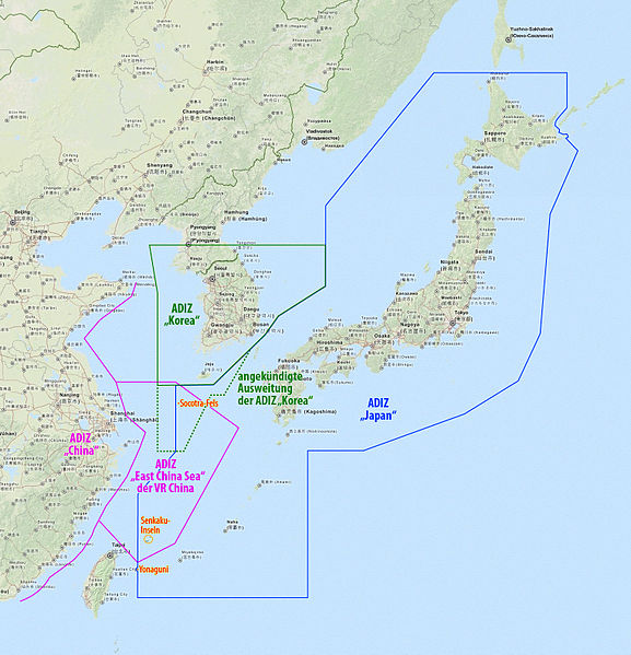 Air Defense Identification Zone of Japan (blue), China (pink), and Korea (green)