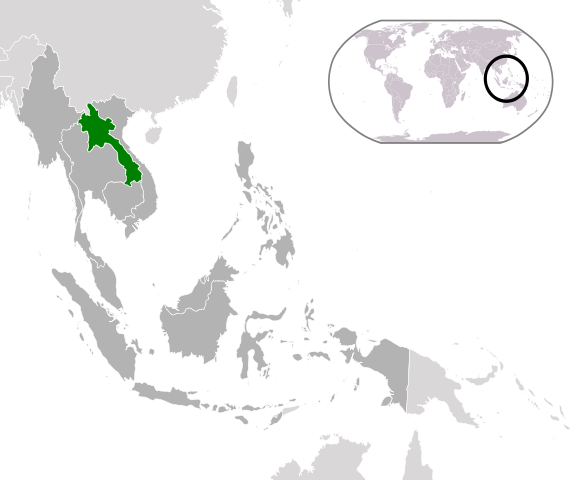 Location of  Laos  (green) in ASEAN  (dark grey)