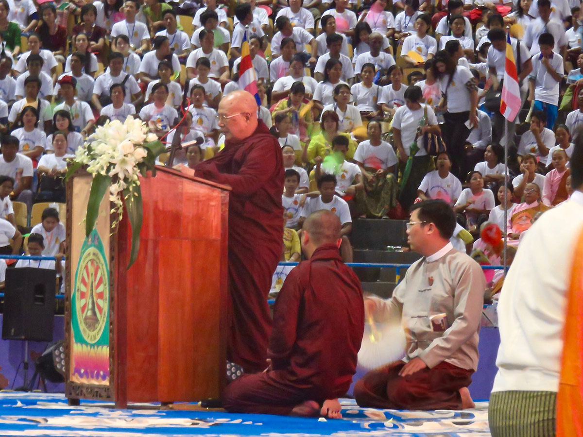 Buddhist monks who support Ma Ba Tha attend a celebration of four controversial bills with a rally in a stadium at Yangon October 4, 2015. Photo: Central Patriotic Association Facebook page: https://www.facebook.com/centralpatrioticassociation/info/