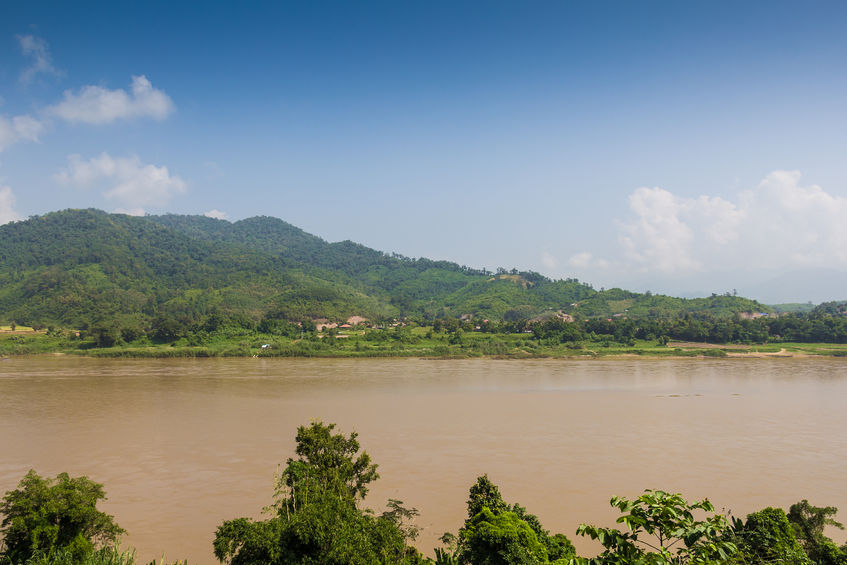 The Mekong River border between Thailand and Laos