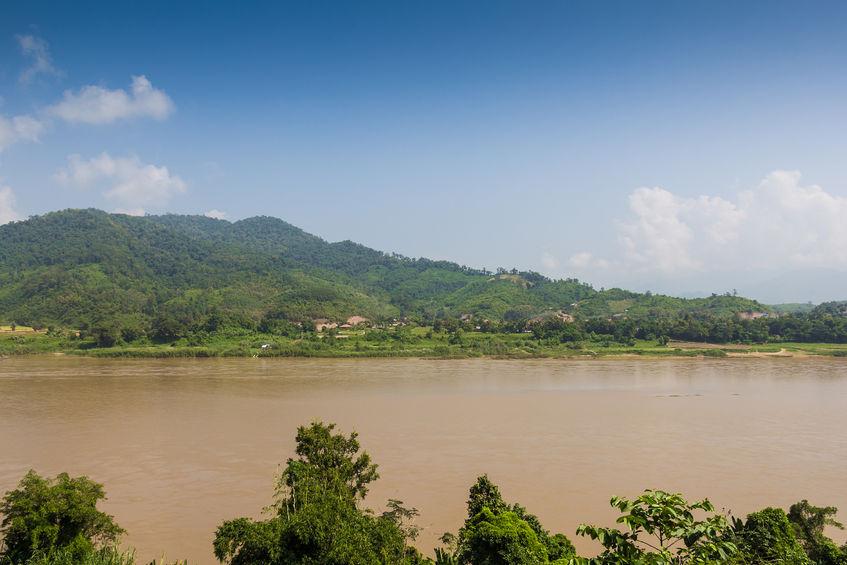 The Mekong River border between Thailand and Laos