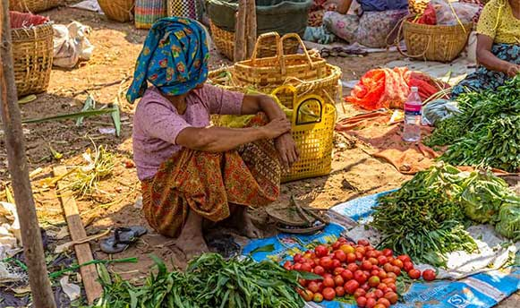 Woman selling vegetables at the local market