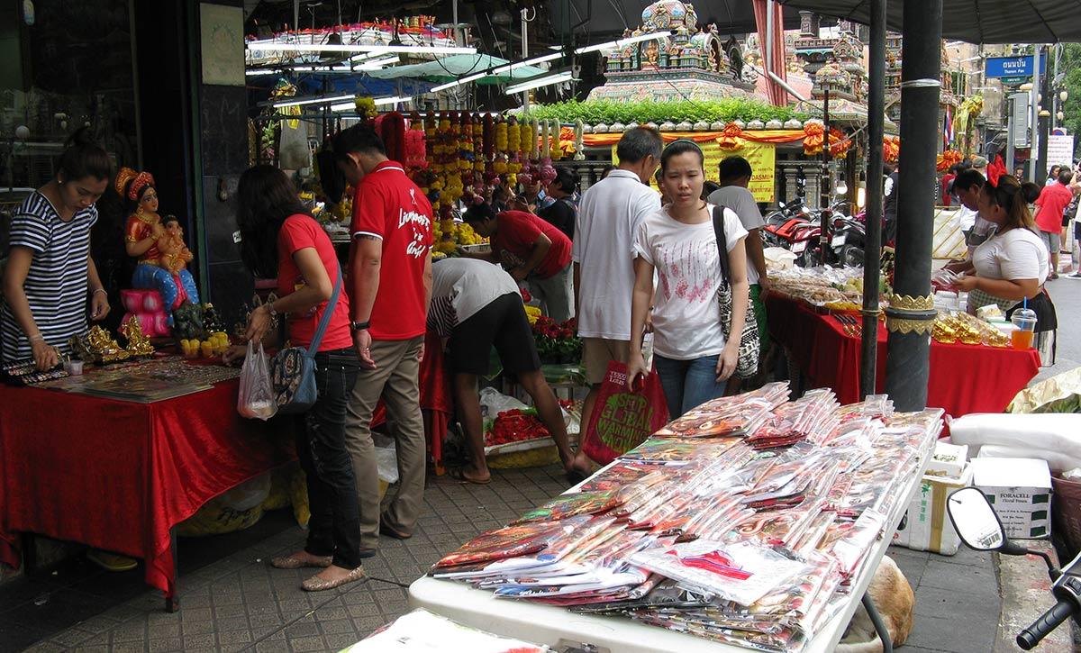 Ritual vendors outside Sri Mahamariamman temple