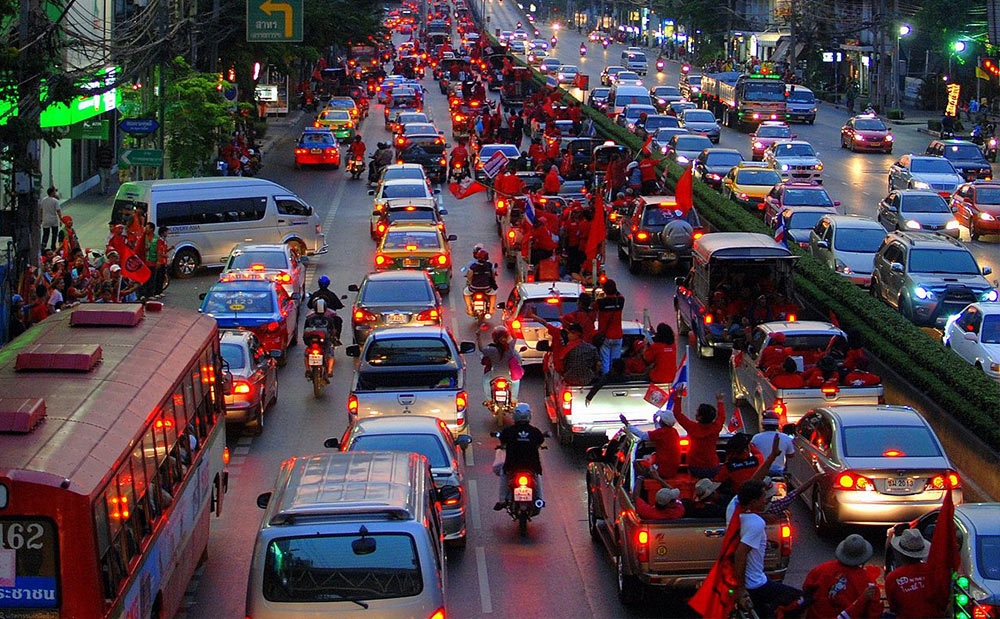 Saturday, March 20, 2010. The day of the red shirt march through Bangkok was held in a festive mood.