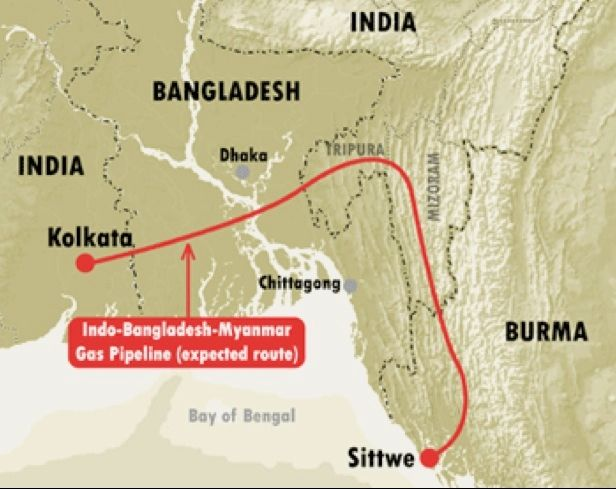 Map 4 : Possible route of gas pipeline, avoiding the Burma-Bangladesh borderland.   Source: http://www.irrawaddy.org/articlefiles/4325-ShweMap.gif