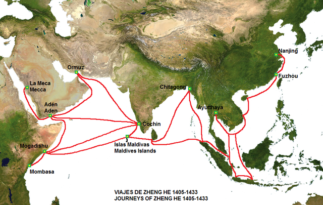 The route of the voyages of Cheng Ho's fleet