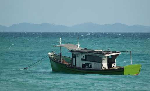 Boat anchored in the South China sea in Malaysia