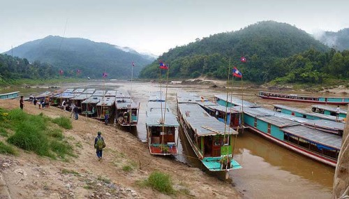 Slow cruise boats in Pakbeng, Laos
