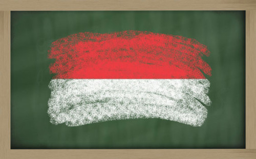 national-flag-of-indonesia-on-blackboard