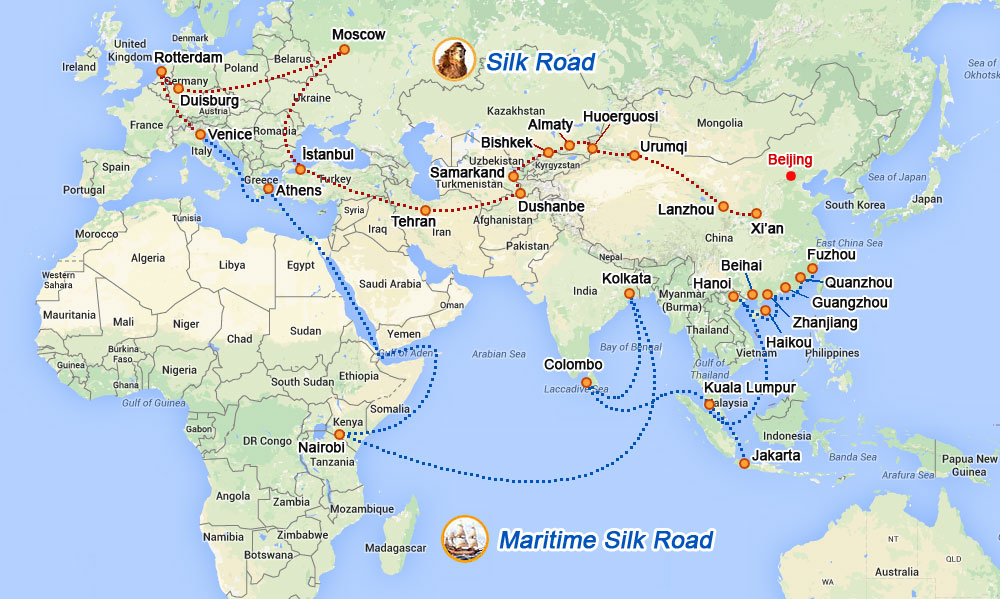 In the making: Silk Road Economic Belt and Maritime Economic Belt (Image: Xinhau Finance Agency)