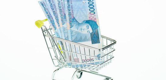 Indonesian rupiah in shopping cart
