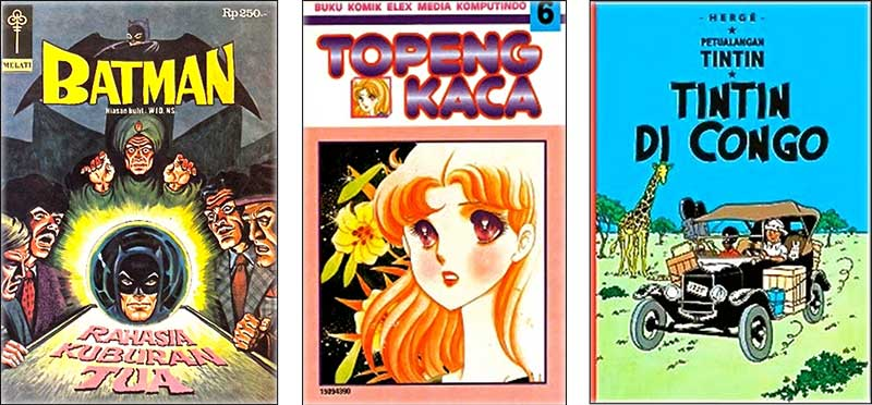 FIGURE 1a: Translated foreign comics (American, Japanese, European) in Indonesia